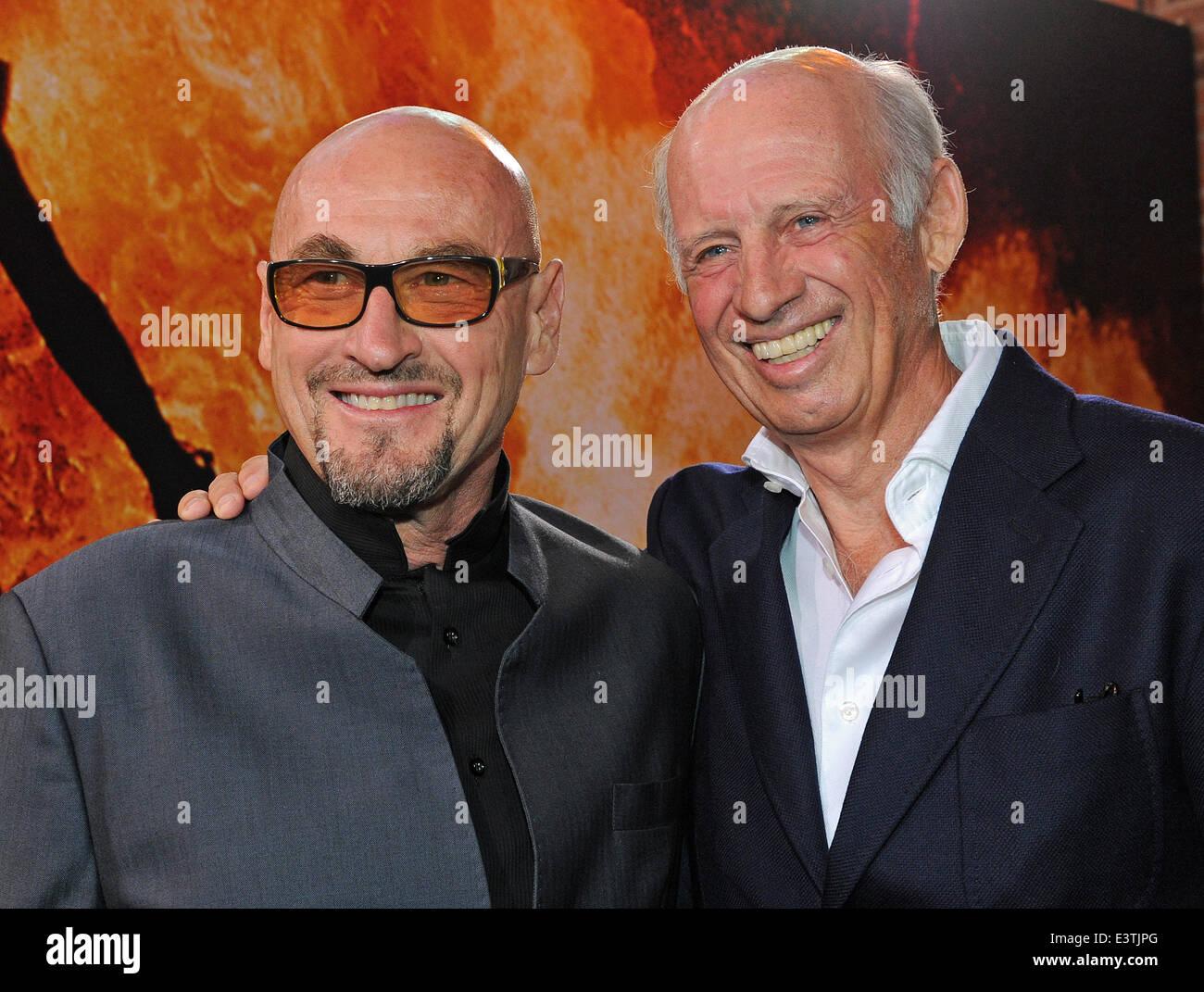 Filmmaker Willy Bogner (R) and entrepreneur and stuntman Jochen Schweizer smile during a gala in the honour of Bogner - Stock Image