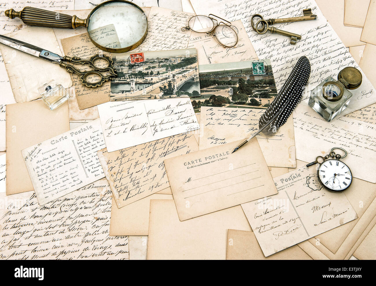 Old Handwritten French Letters And Postcards, Vintage Office Accessories.  Nostalgic Paper Background