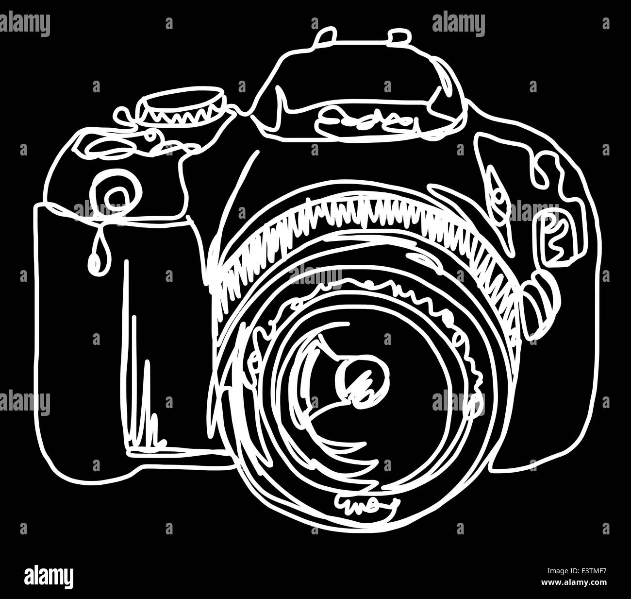 Continuous line drawing of a camera - Stock Image