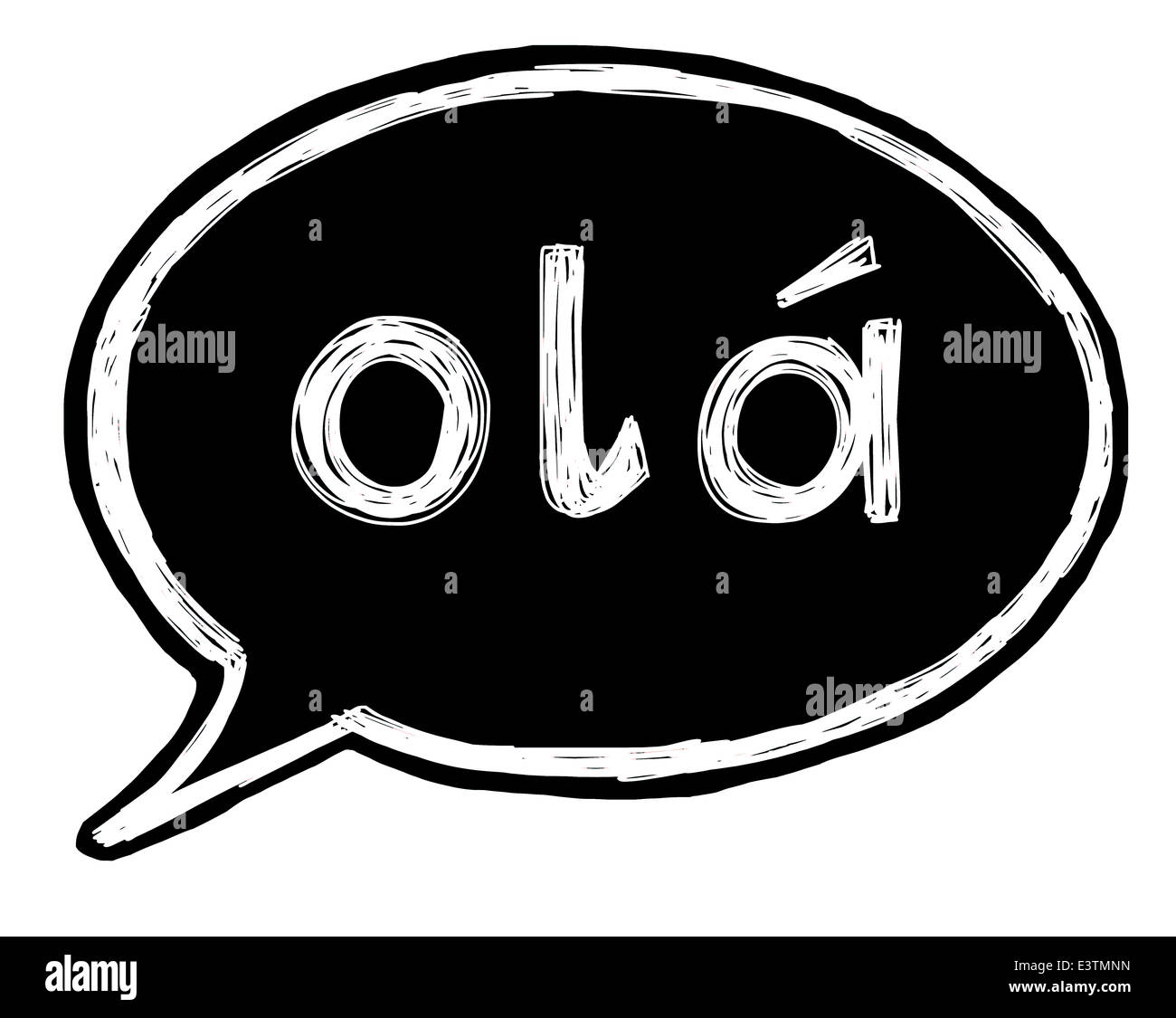 Illustration of a speech bubble with the word hello in Portuguese Stock Photo