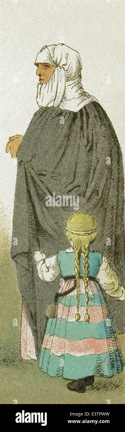 The woman represented here is a German nursemaid with her charge. They date to 1500-1550. The illustration dates - Stock Image