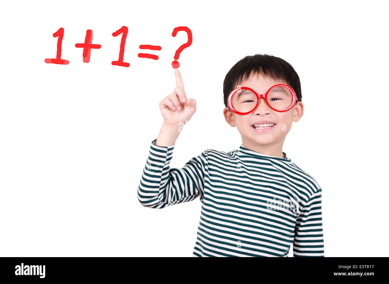 Smart cute boy thinking math question Stock Photo: 71230355 - Alamy