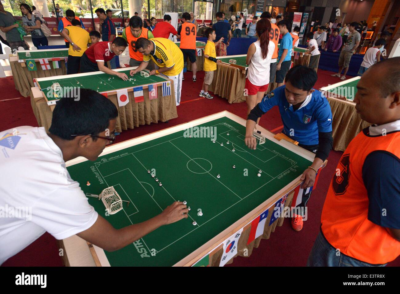 Singapore. 29th June, 2014. Table football enthusiasts participate in the National Championships in Singapore's - Stock Image