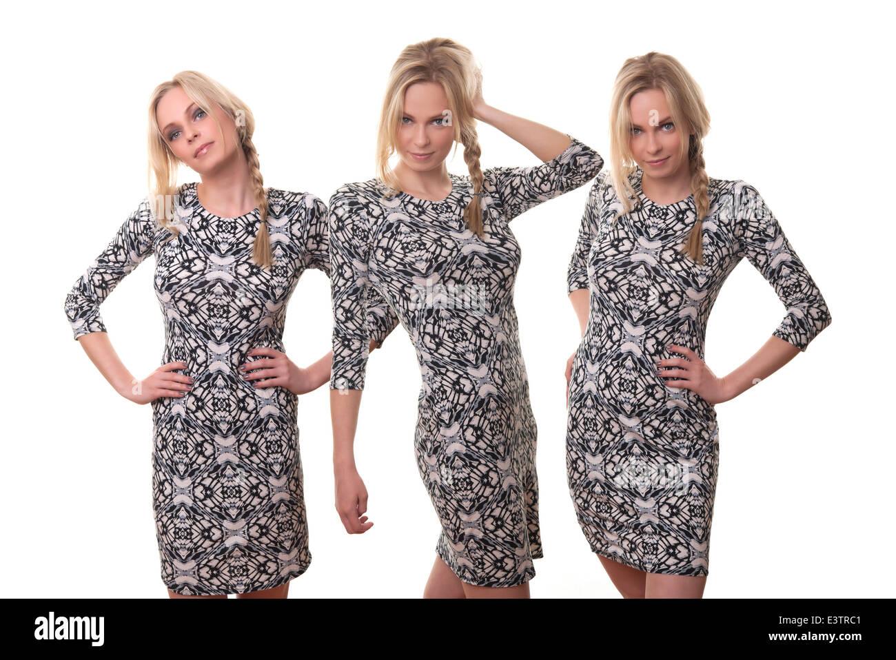 blonde group of girls wearing patterned dress - Stock Image