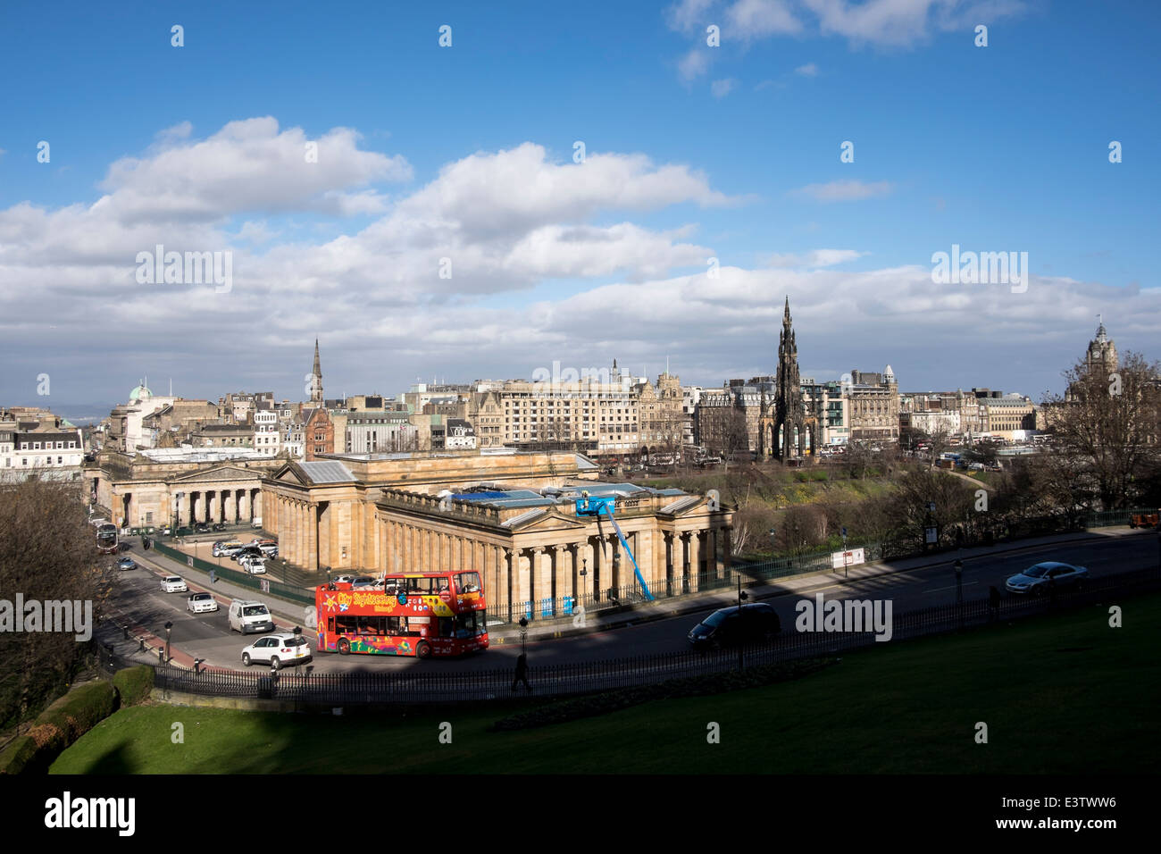 View of the Scottish National Gallery from above, Edinburgh Stock Photo