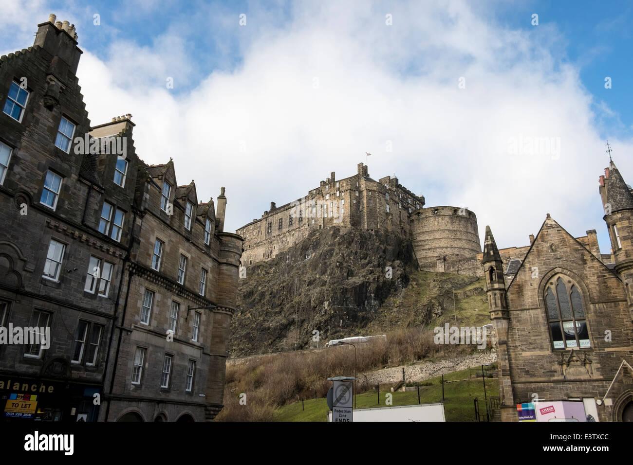 Edinburgh's castle view from Grassmarket square. - Stock Image