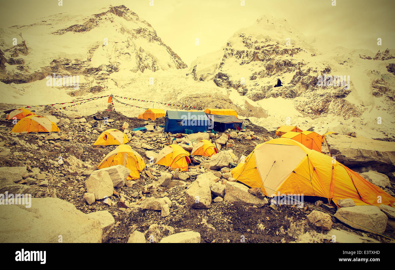 Tents in Everest Base Camp in cloudy day, Nepal, vintage instagram retro style. - Stock Image