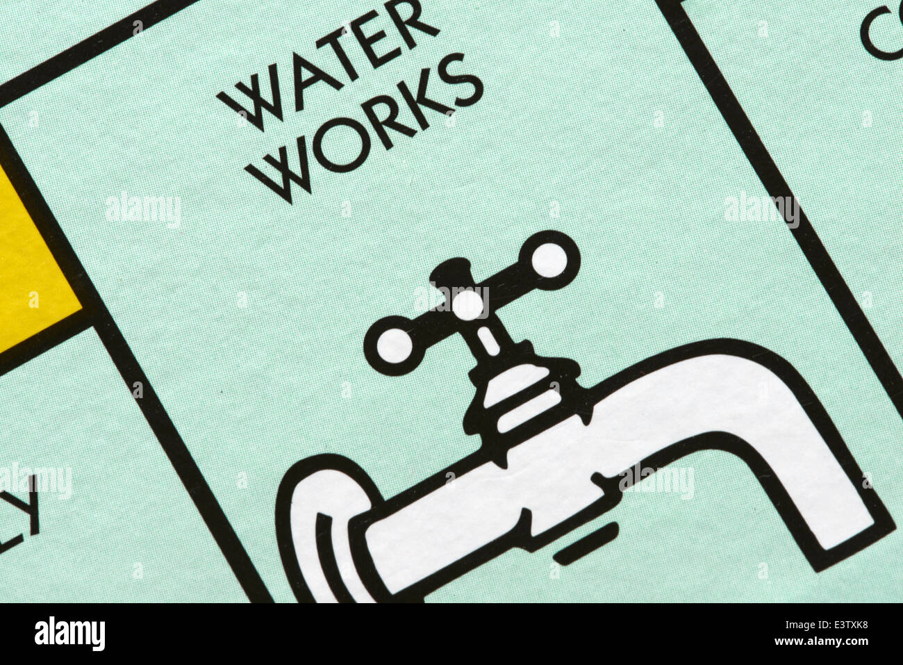 Water works space on a Monopoly Game Board - Stock Image