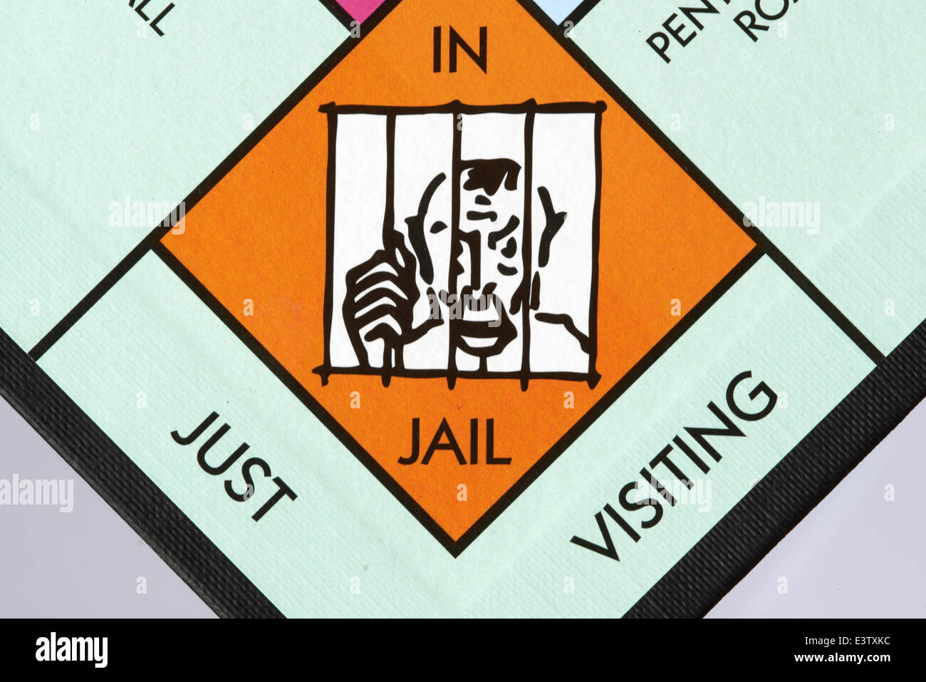 In jail just visiting space on a Monopoly Game Board Stock Photo - Alamy