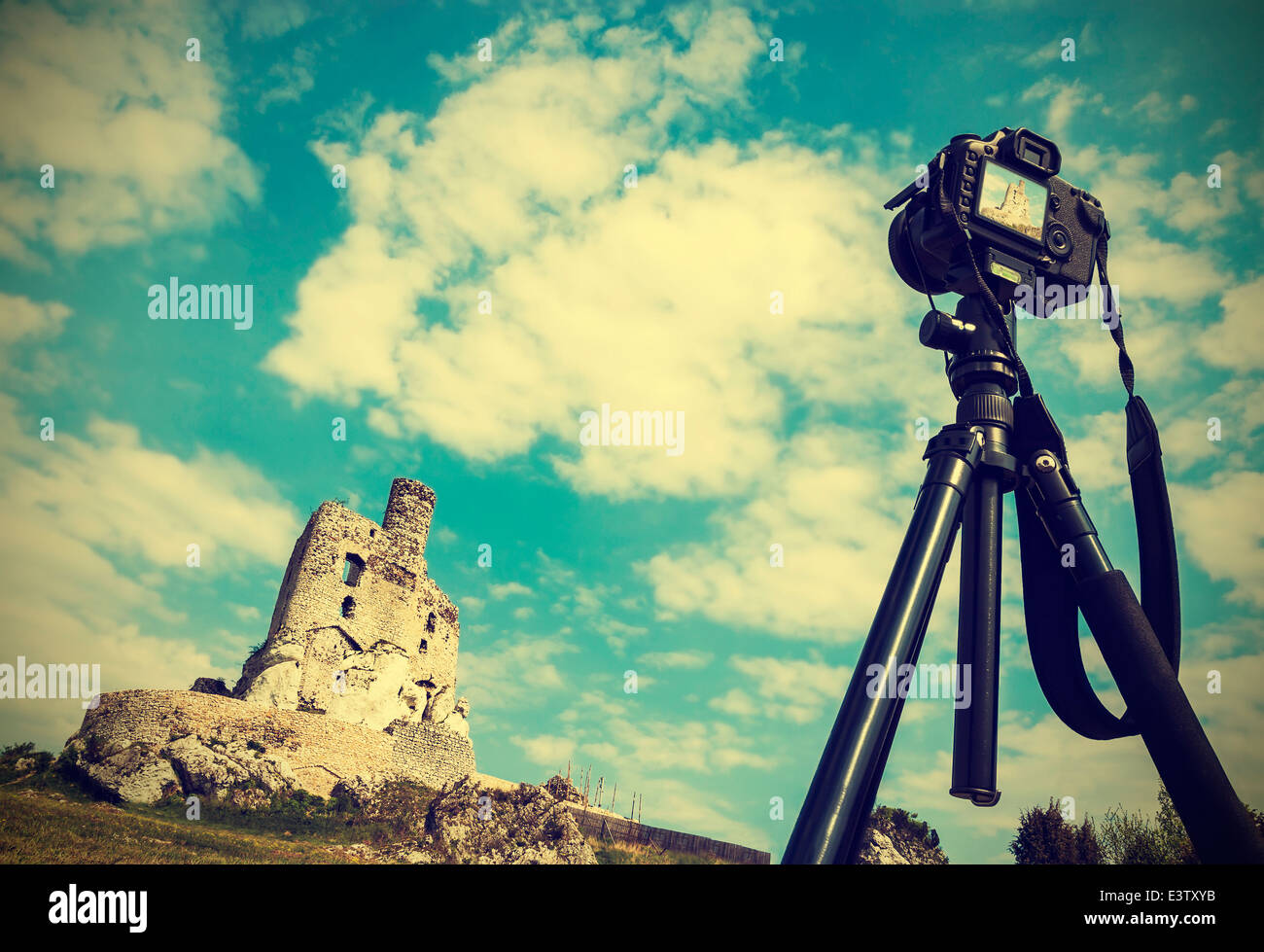 Camera on tripod with summer landscape with ruins, vintage retro style. - Stock Image
