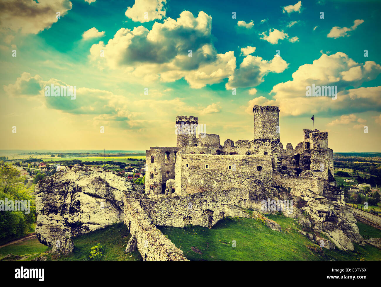 Ruins of a castle, Ogrodzieniec fortifications, Poland, vintage retro filter. - Stock Image