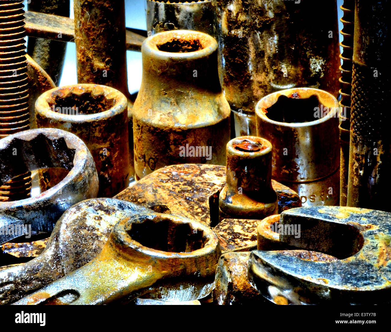 Close up shot of old rusty tools and spanners - Stock Image