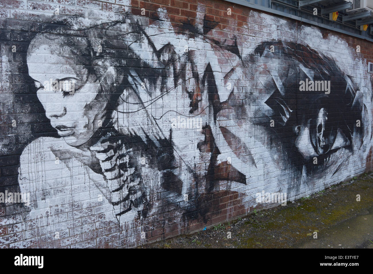 Liverpool, UK. 29th June, 2014. Black and White artwork by much respected local artist Danny, known as DOC. Credit: - Stock Image