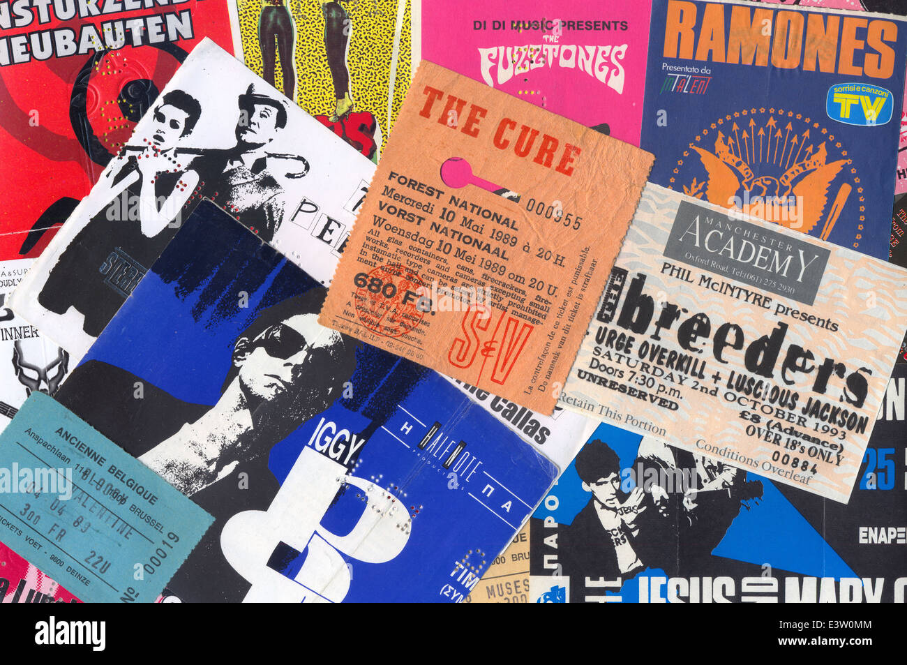 Vintage concert ticket stubs punk and alternative rock music memorabilia from the 80s and 90s. - Stock Image