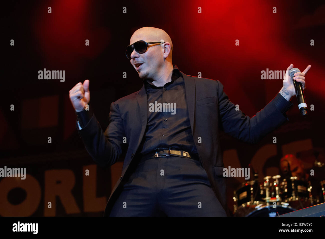 Rapper Armando Christian Pérez, known by the stage name Pitbull in concert, Pitbull live on stage - Stock Image