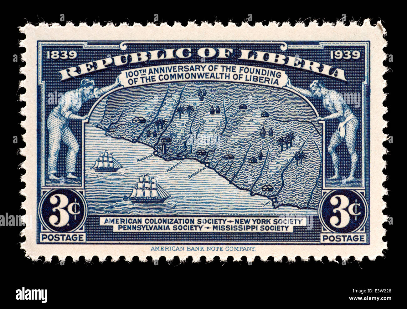 Postage stamp from Liberia depicting the coastline of Liberia, issued for the century of its founding. - Stock Image