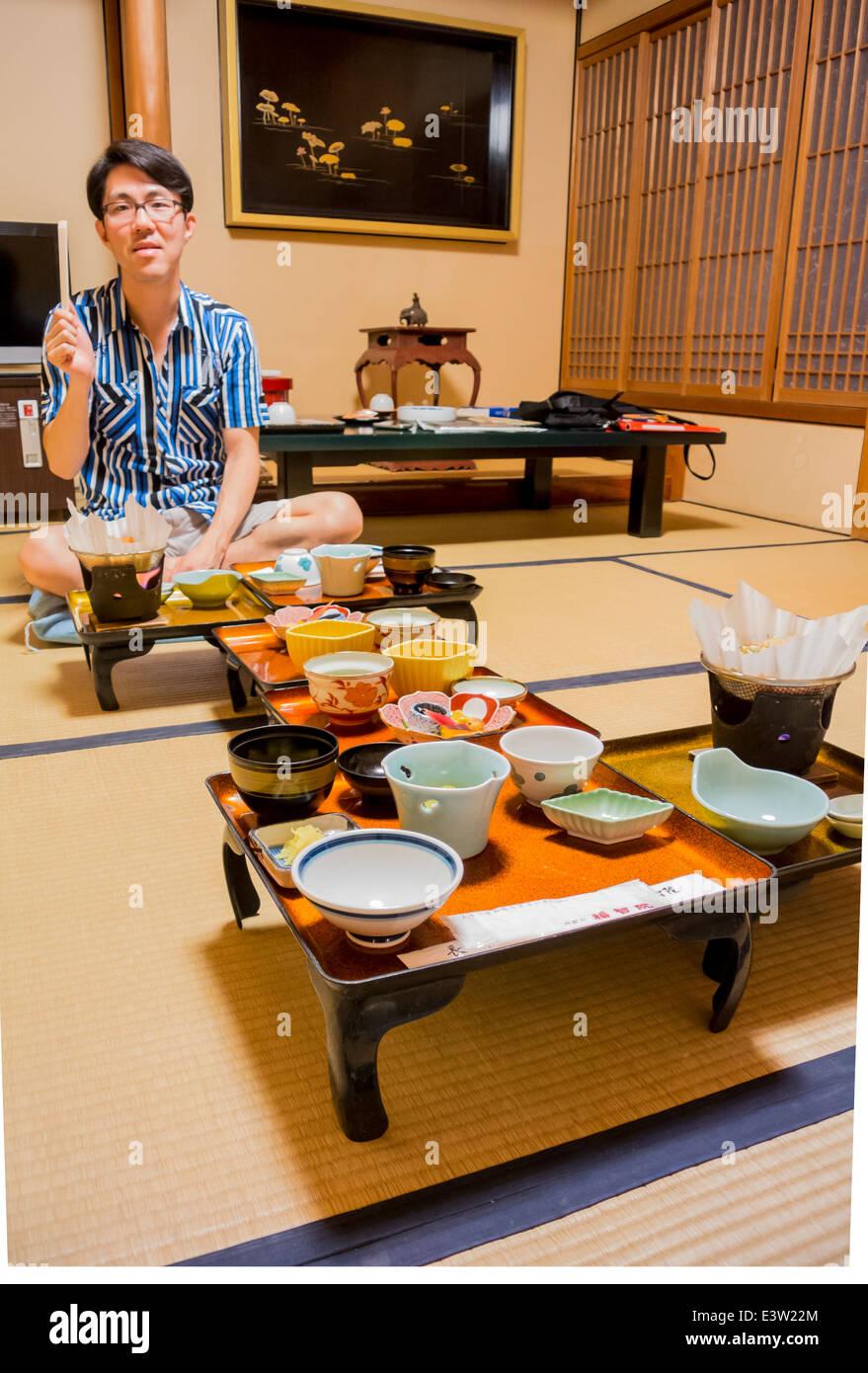 Japanese man at Ryokan, Koyasan, Japan - Stock Image