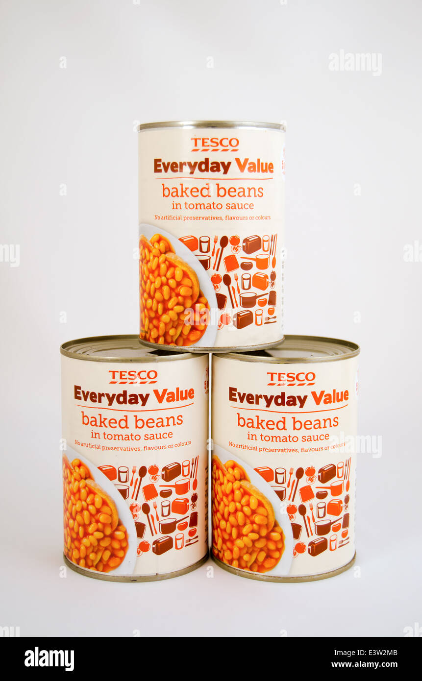 Three tins of Tesco Everyday Value Baked Beans in Tomato sauce - Stock Image