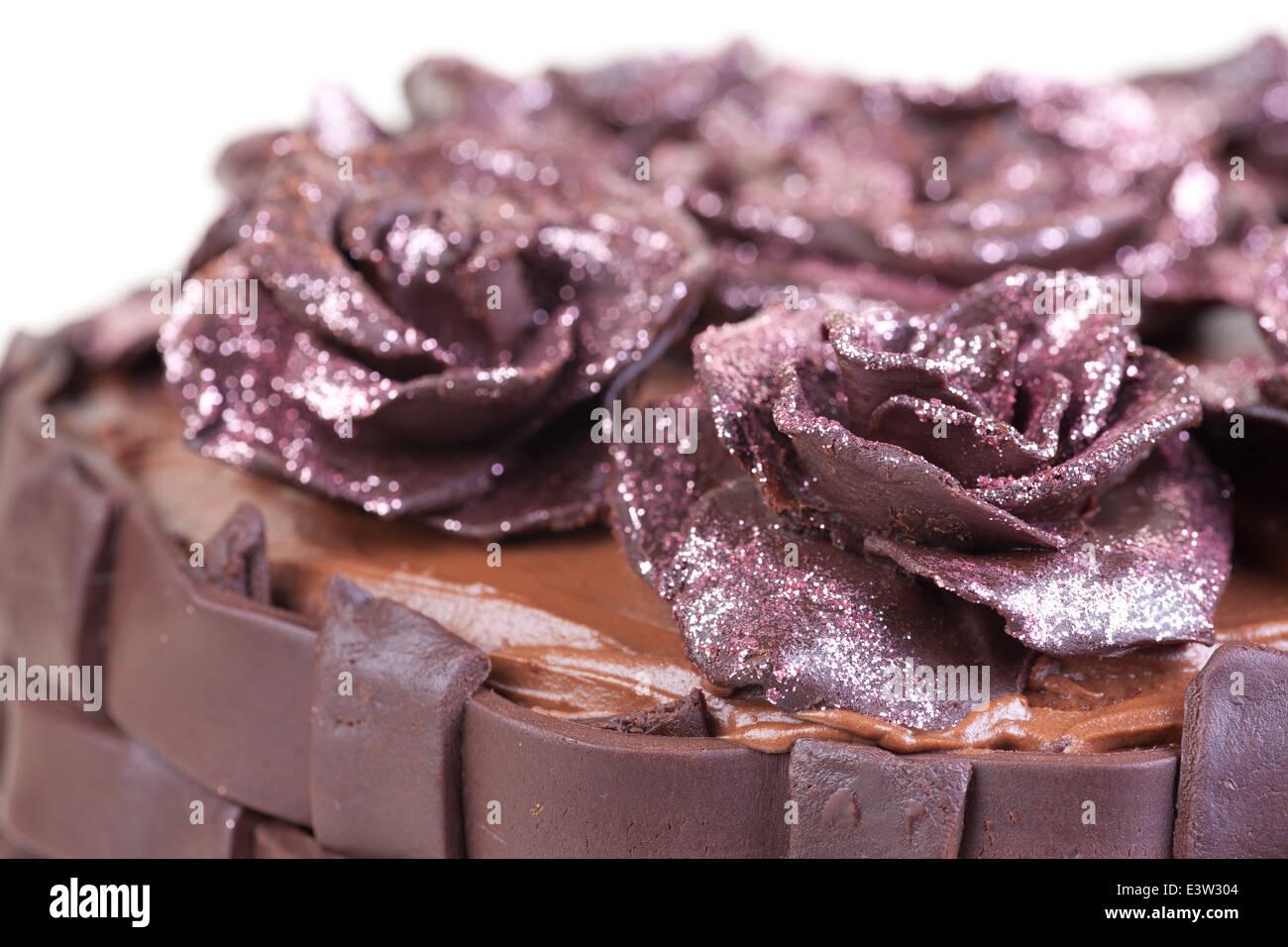 Beautiful Chocolate Cake With Pink Glitter Roses Stock Photo