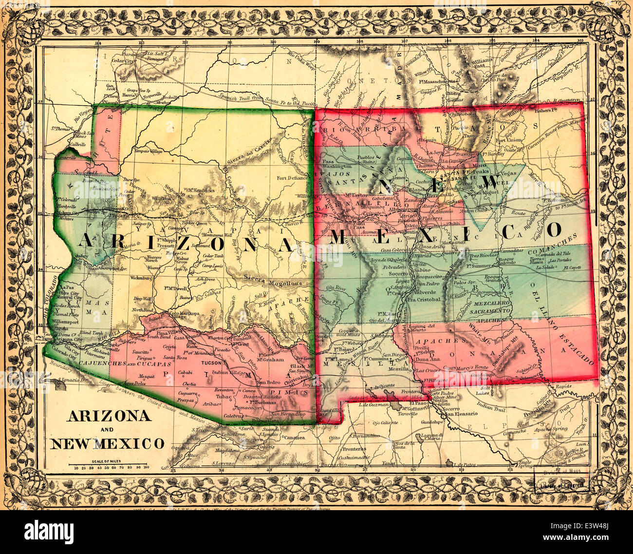 Map Of Arizona To Mexico.Arizona Mexico Map Stock Photos Arizona Mexico Map Stock Images