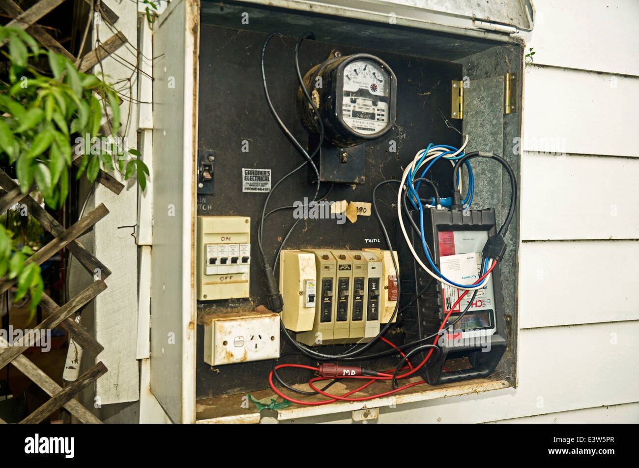 Electricity meter with 3 phase power and disturbance analyzer - Stock Image