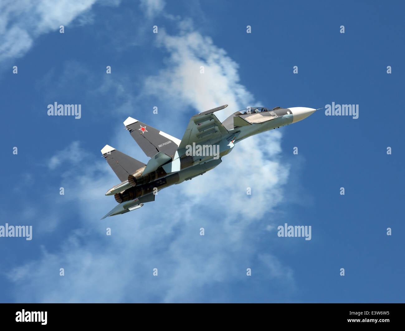Sukhoi Su-37 (Flanker-F) is russian supermaneuverable multirole jet fighter - Stock Image