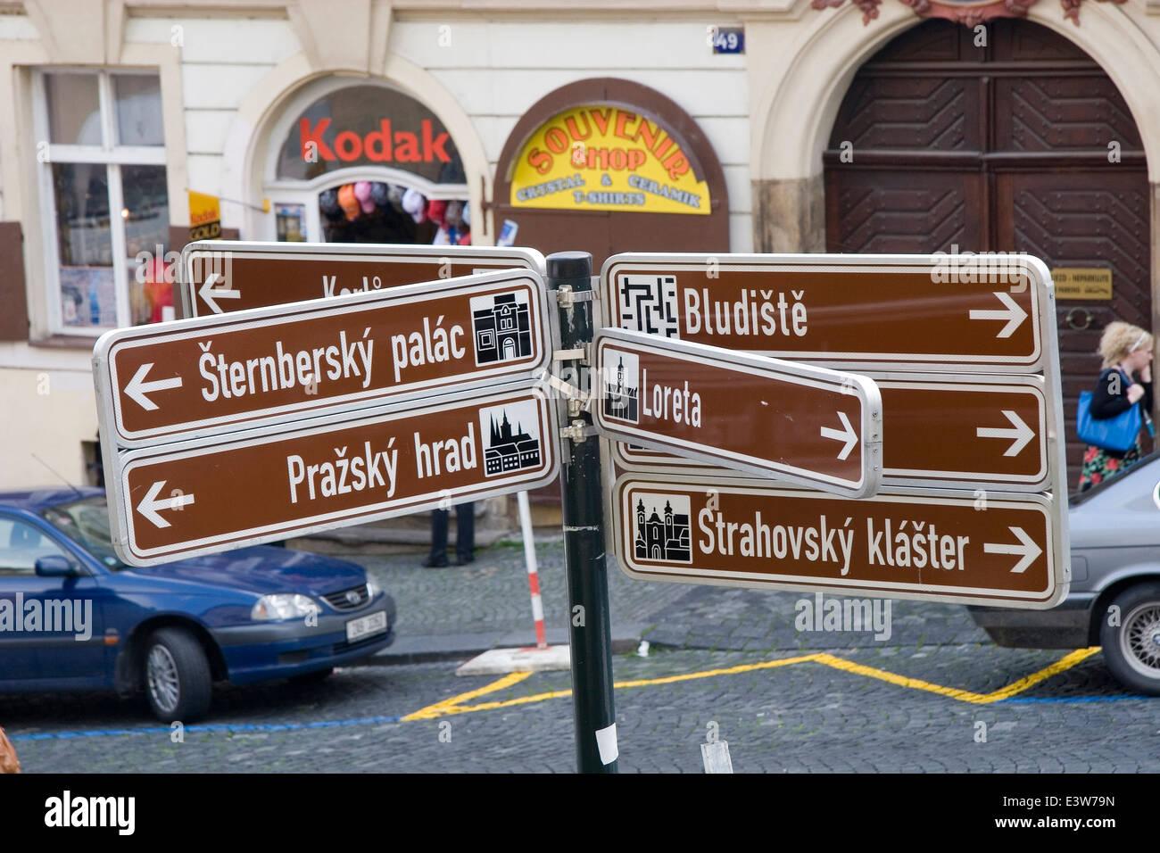 Street sign, prague, czech republic - Stock Image