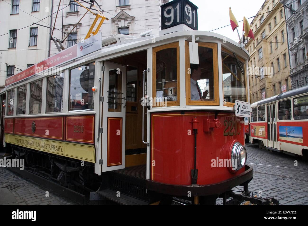 streetcar, prague, czech republic - Stock Image