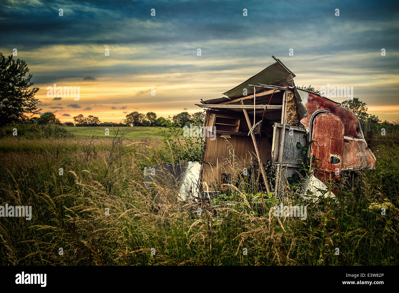 Old caravan in lincolnshire with view of wolds Stock Photo
