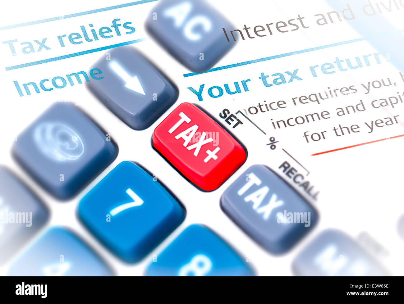 Close up macro shot of calculator with tax button - Stock Image