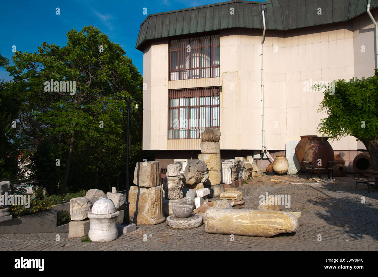 Archeological museum with exhibition outside, Izmir, Turkey, Asia Minor - Stock Image