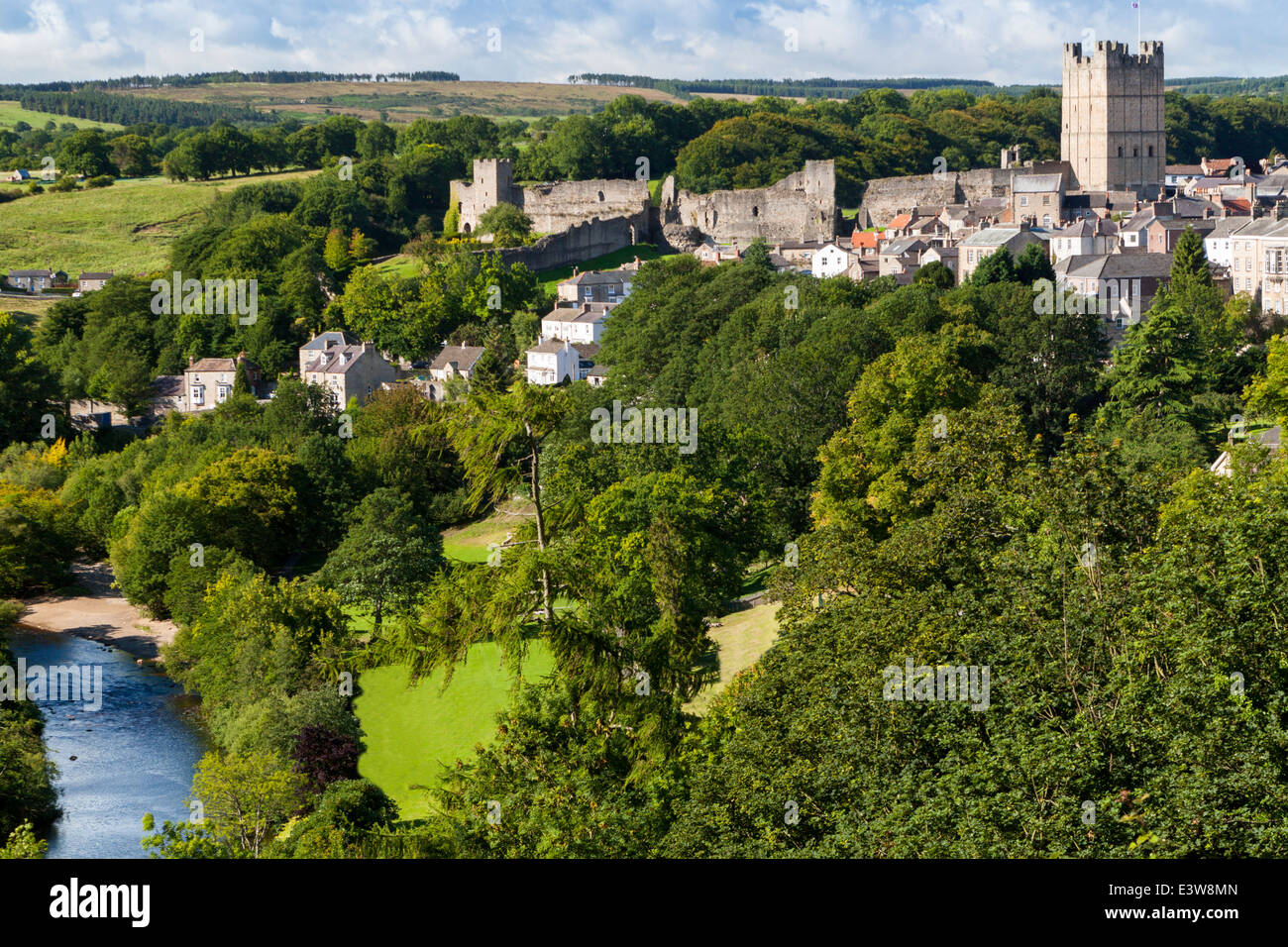Richmond North Yorkshire  scene showing the Castle, Town, River Swale and The Batts Stock Photo