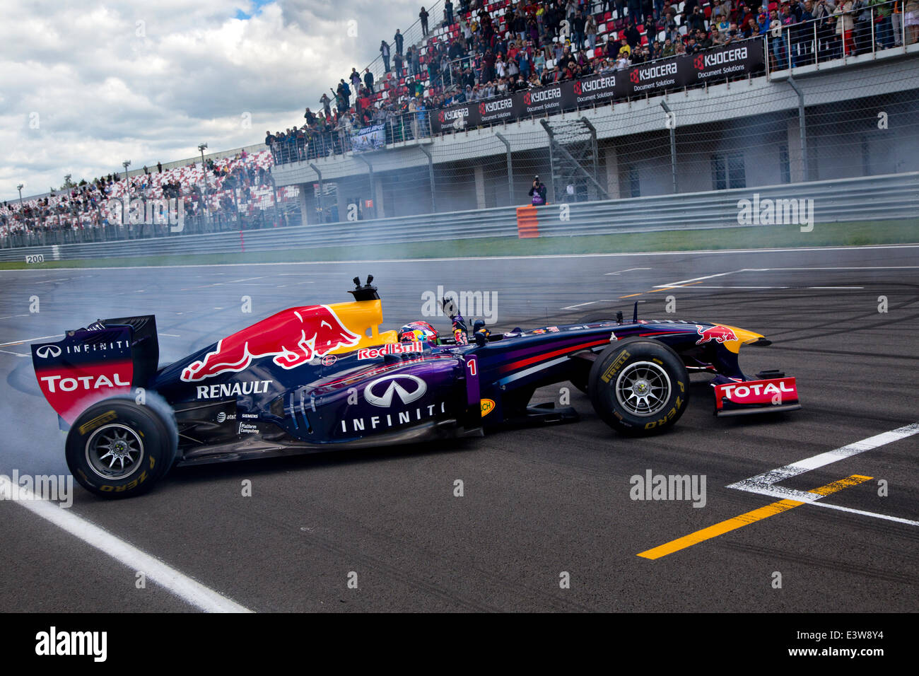Daniil Kvyat of Formula1 team on demonstrations at the Moscow Raceway circuit in the World series by Renault on - Stock Image