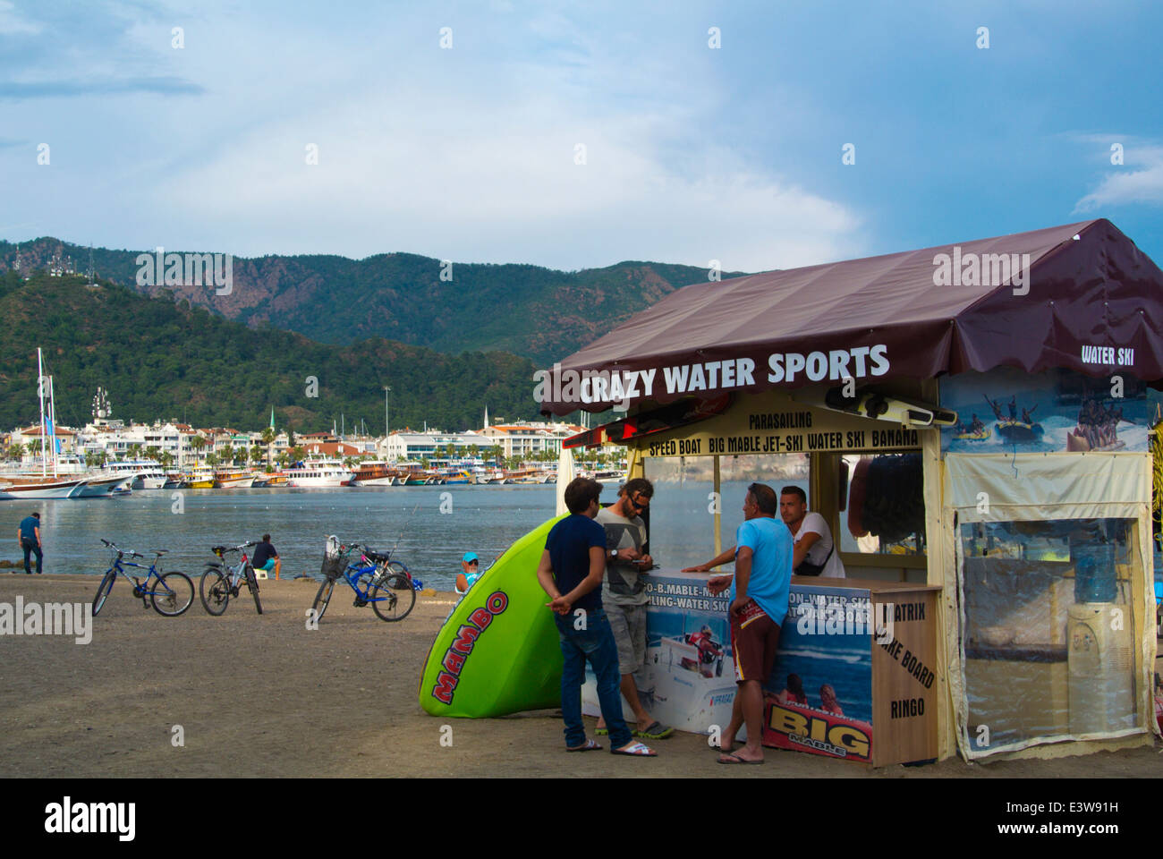 Watersports equipment rental, Kordon promenade, beach, Marmaris, Mugla province, Turkey, Asia Minor - Stock Image