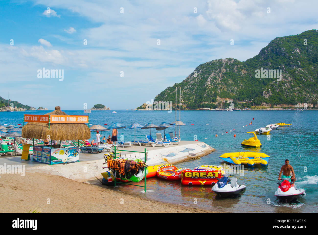 Watersports,jetskis and other equipement rental, beach, Icmeler resort, near Marmaris, Mugla province, Turkey, Asia - Stock Image