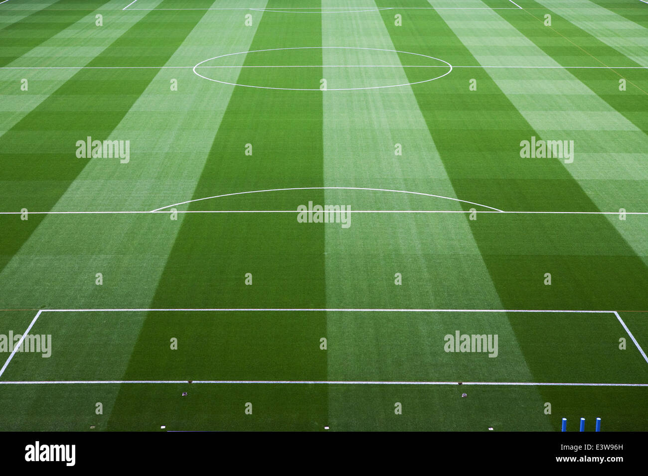 A top-class football pitch in the UK - Stock Image