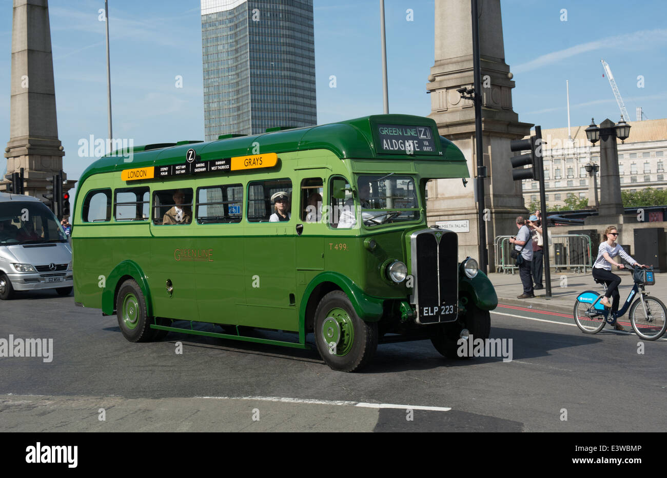 Making its first public appearance since it was painted into Greenline is this AEC Regal coach now owned by Ensignbus. - Stock Image