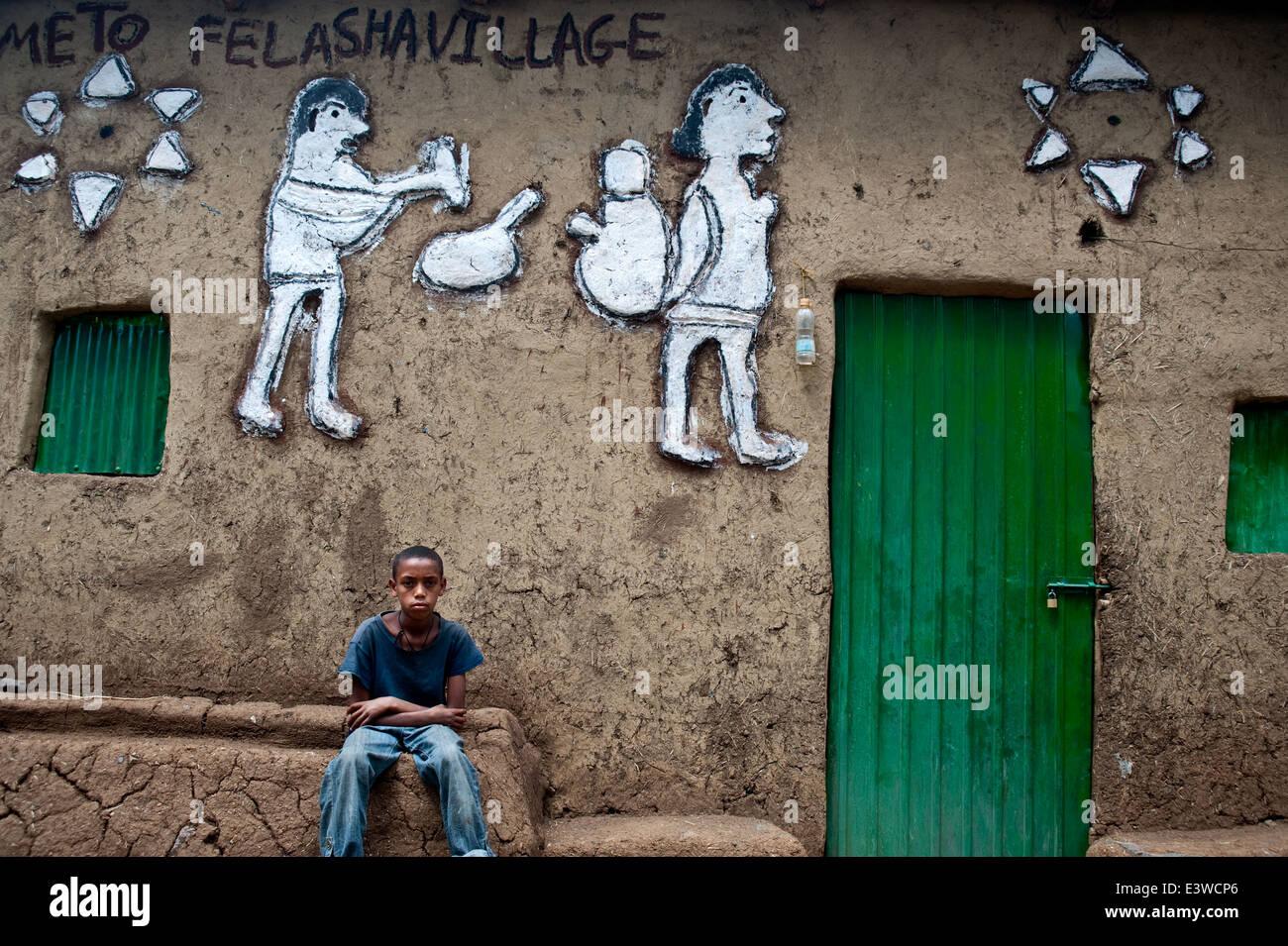 House in a former Falasha village ( Ethiopia) - Stock Image