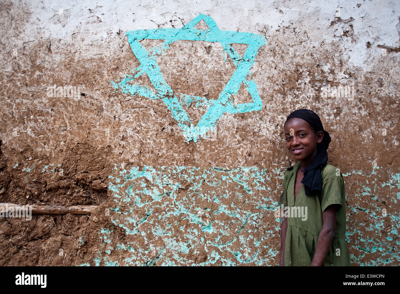 A star of David is painted on a wall in a former Falasha village ( Ethiopia) - Stock Image