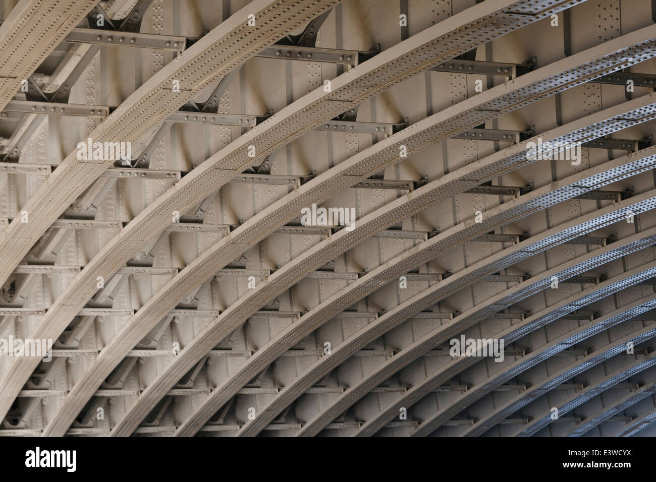 Steel arches underneath Blackfriars Bridge, London, rivets clearly seen. - Stock Image