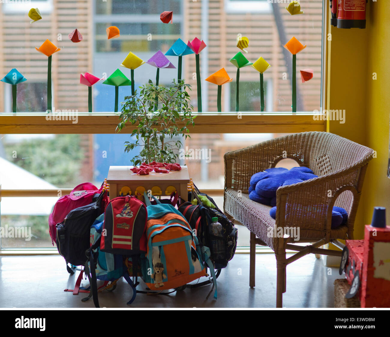 Wismar, Germany. 19th June, 2014. Childrens' jackets and backpacks are on display in the entrance area of the integrated Stock Photo