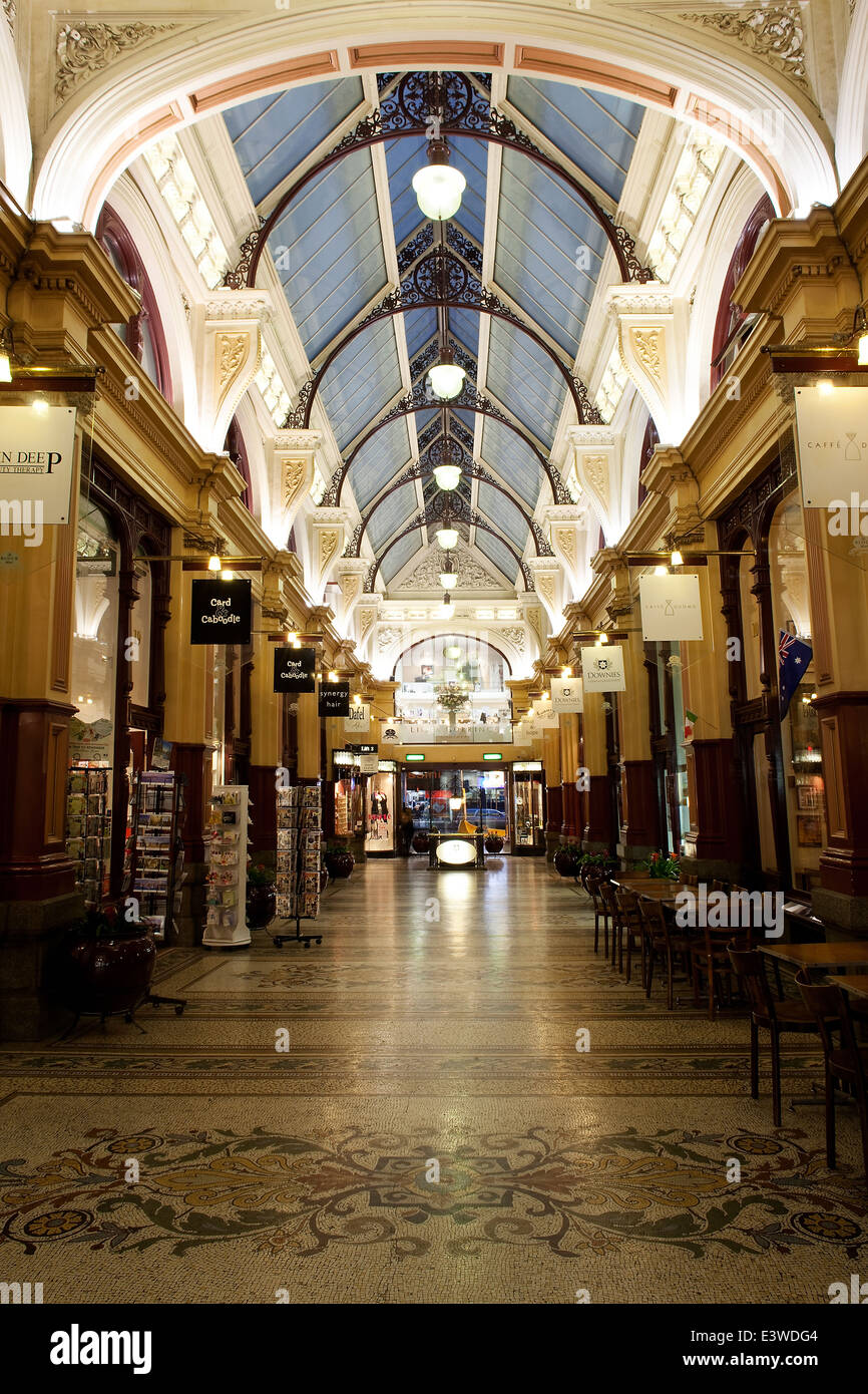 Melbourne city Australia shops in shopping arcade or mall street historical architecture. center of Australian town. - Stock Image