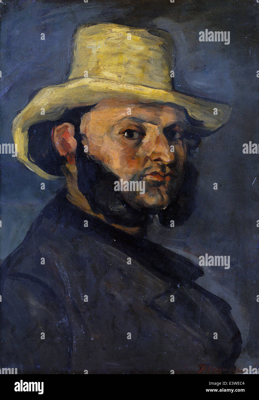 Paul Cézanne - Gustave Boyer in a Straw Hat - 1871 - MET Museum - New-York - Stock Image