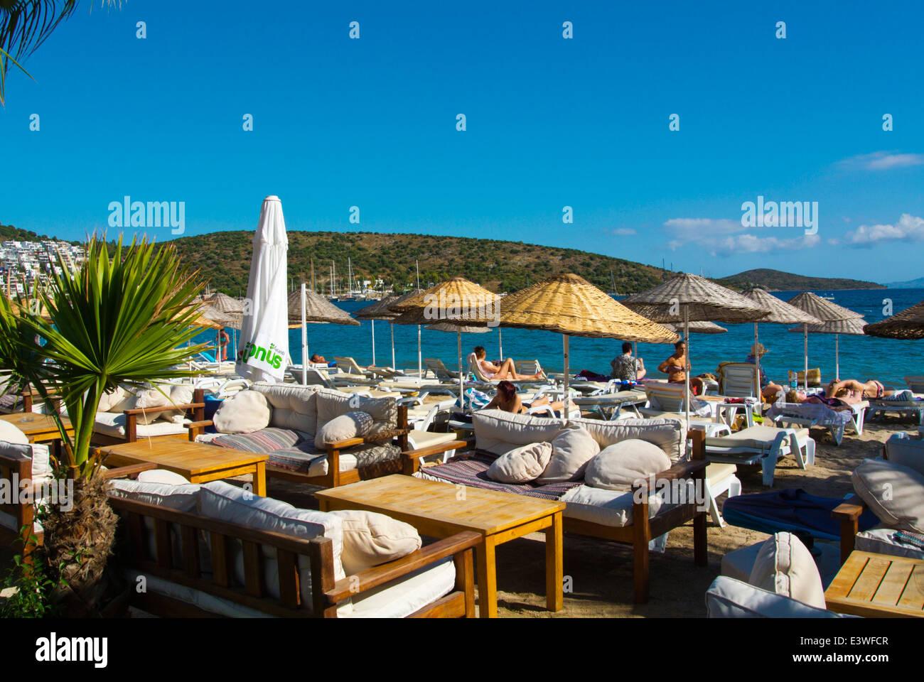 Terrace on the beach, Bitez resort, near Bodrum, Mugla region, western Turkey, Asia Minor - Stock Image