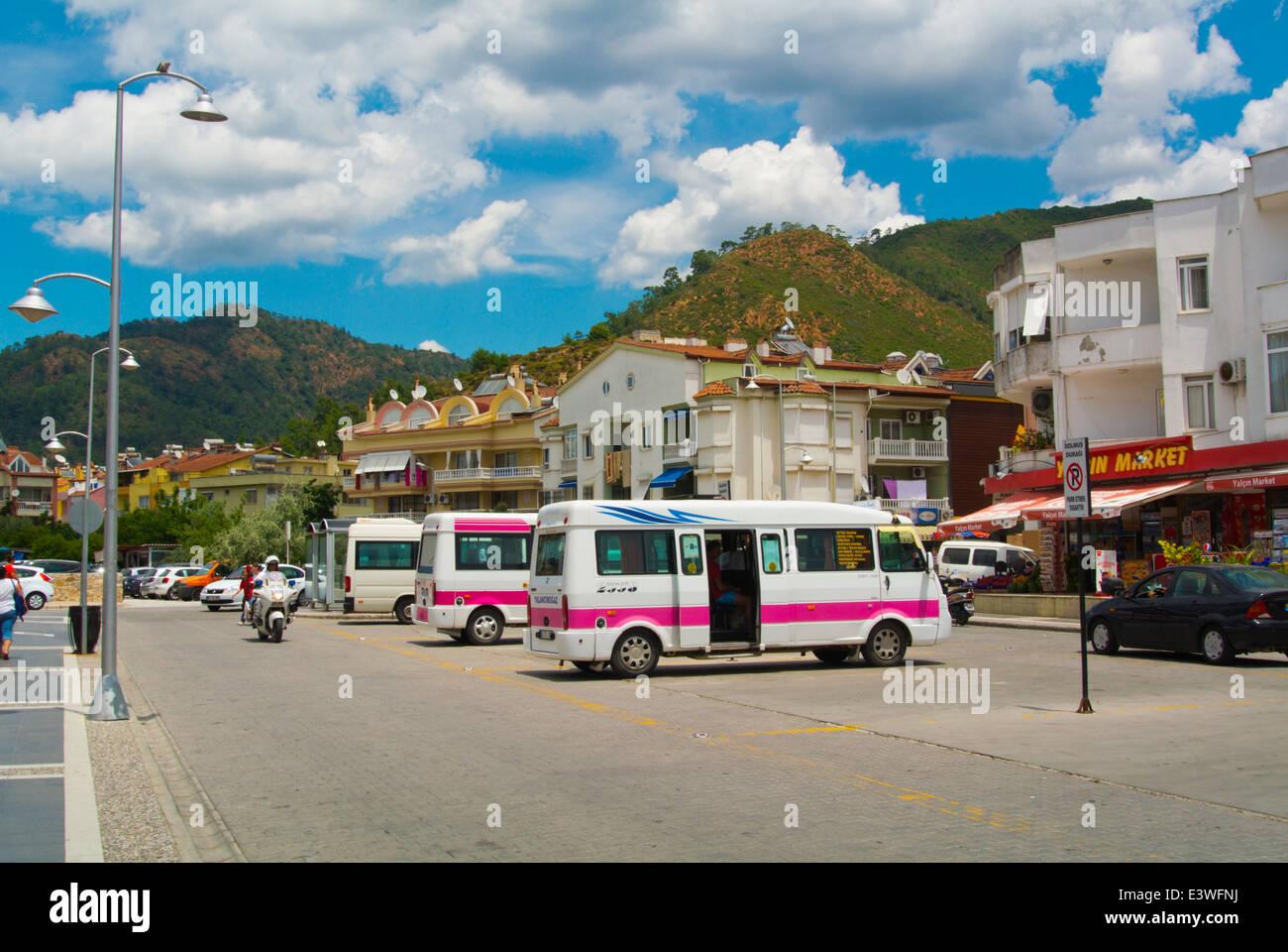 Dolmus minibus station next to Tansas supermarket near main square, Marmaris, Mugla province, Turkey, Asia Minor - Stock Image