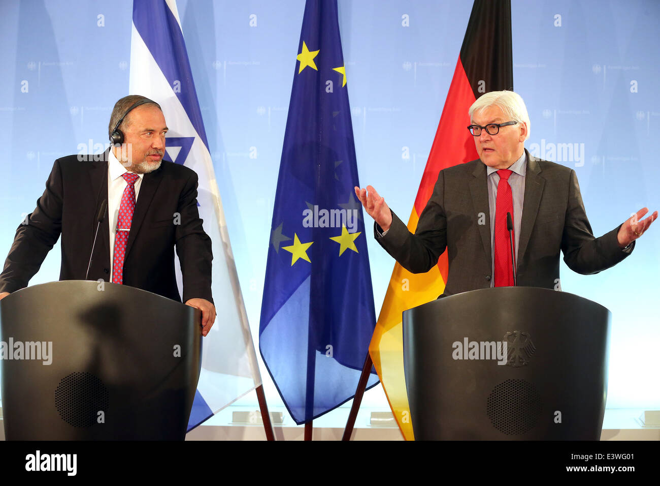 Berlin, Germany. 30th June, 2014. German Minister for Foreign Affairs Frank-Walter Steinmeier and Israeli Minister - Stock Image