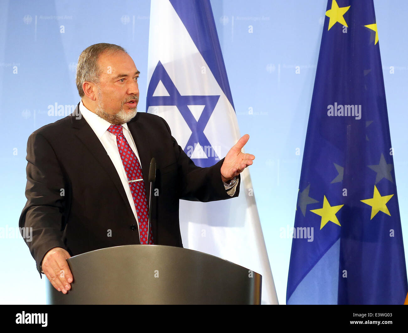 Berlin, Germany. 30th June, 2014. Israeli Minister of Foreign Affairs Avigdor Lieberman holds a press conference - Stock Image