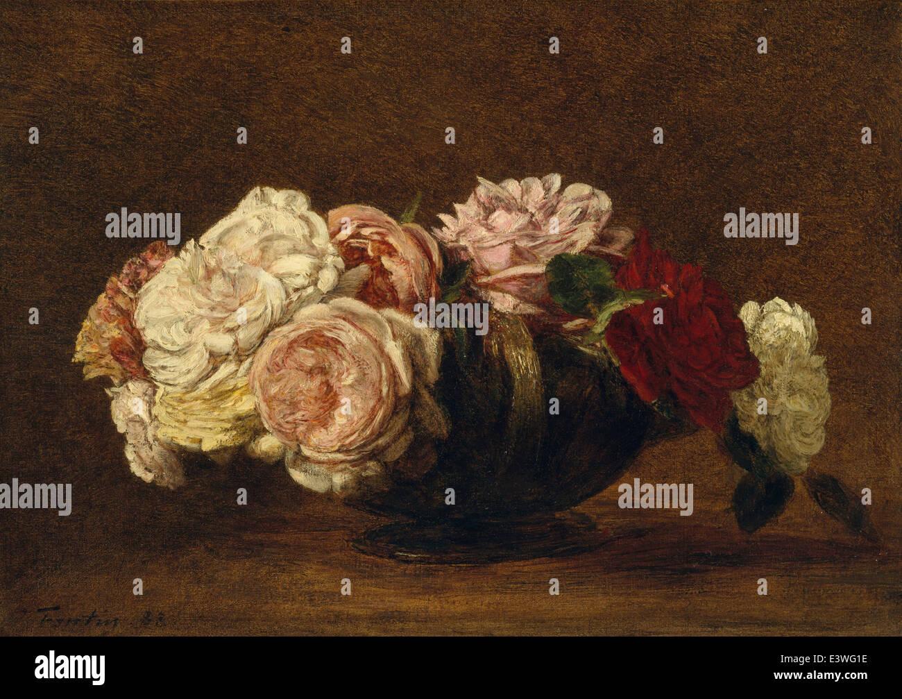 Henri Fantin-Latour - Roses in a Bowl - 1883 - MET Museum - New-York - Stock Image