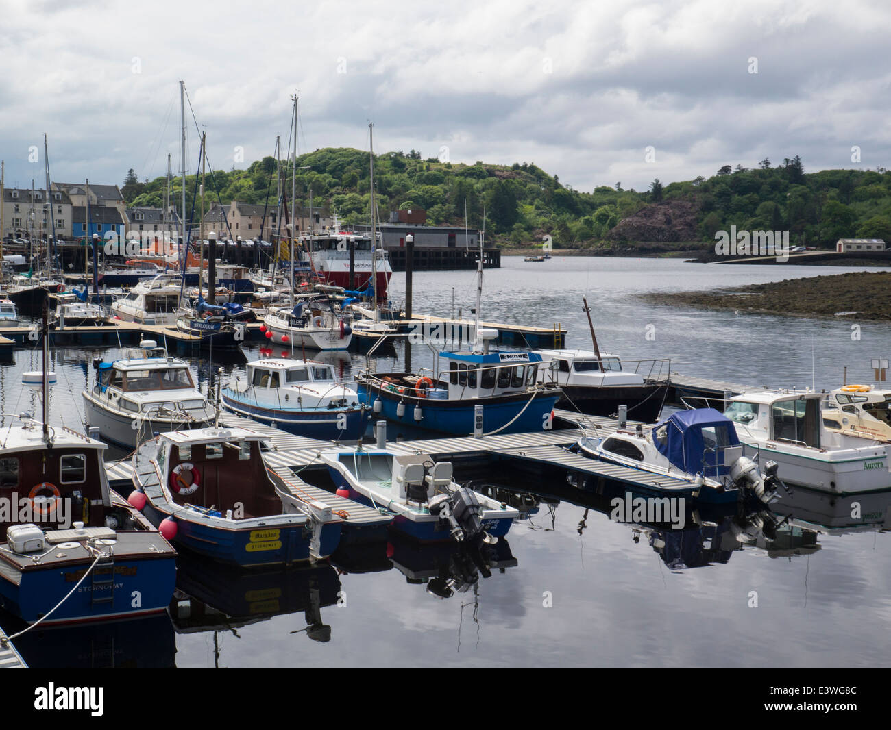 Leisure craft moored in Stornoway harbour Isle of Lewis Outer Hebrides - Stock Image