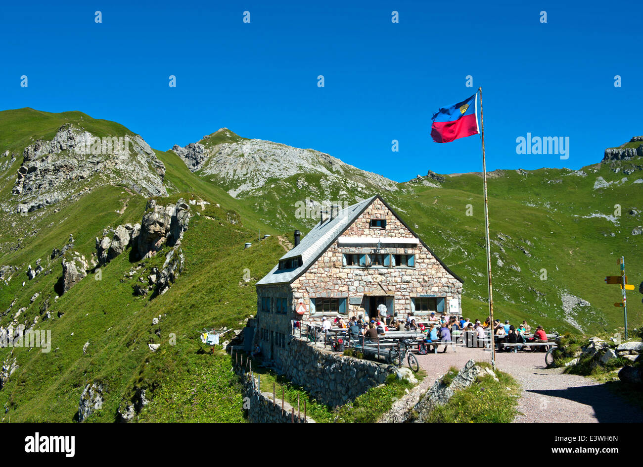 Pfälzerhütte, mountain refuge of the Liechtenstein Alpine Club, LAV, Bettlerjoch saddle, Rätikon - Stock Image